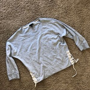 J. Crew gray pullover with lace up sides